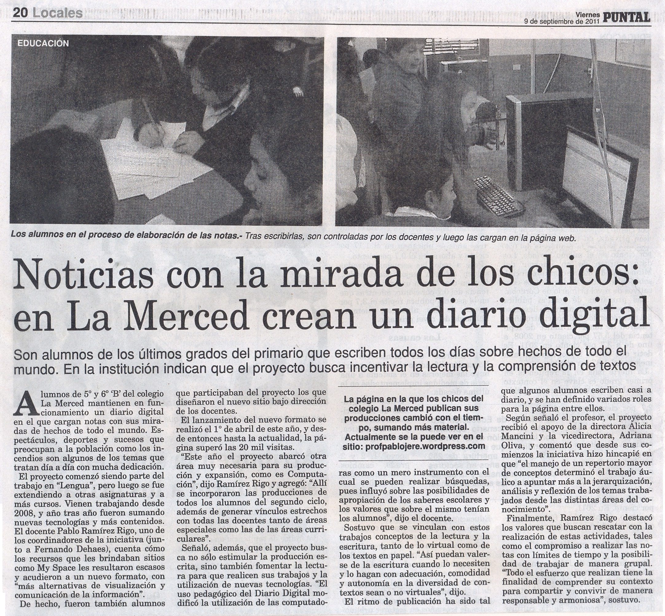 PUBLICACIÓN DE LA EDICIÓN IMPRESA DEL DIARIO PUNTAL   Aula Virtual e ...